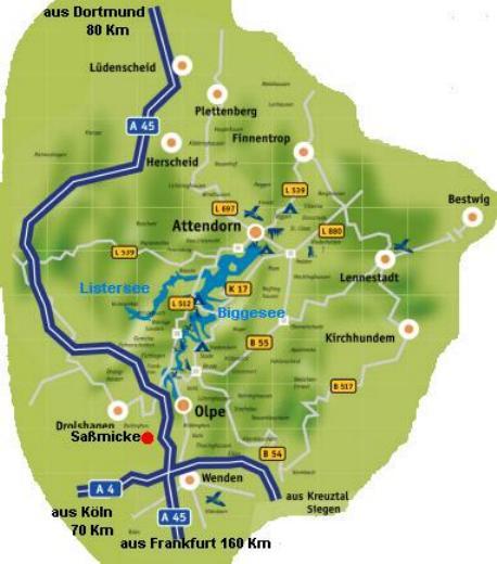 Übersichtskarte von Biggesee und Umgebung